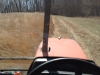Mowing a fire break in a tractor