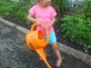 Filling up the watering can!
