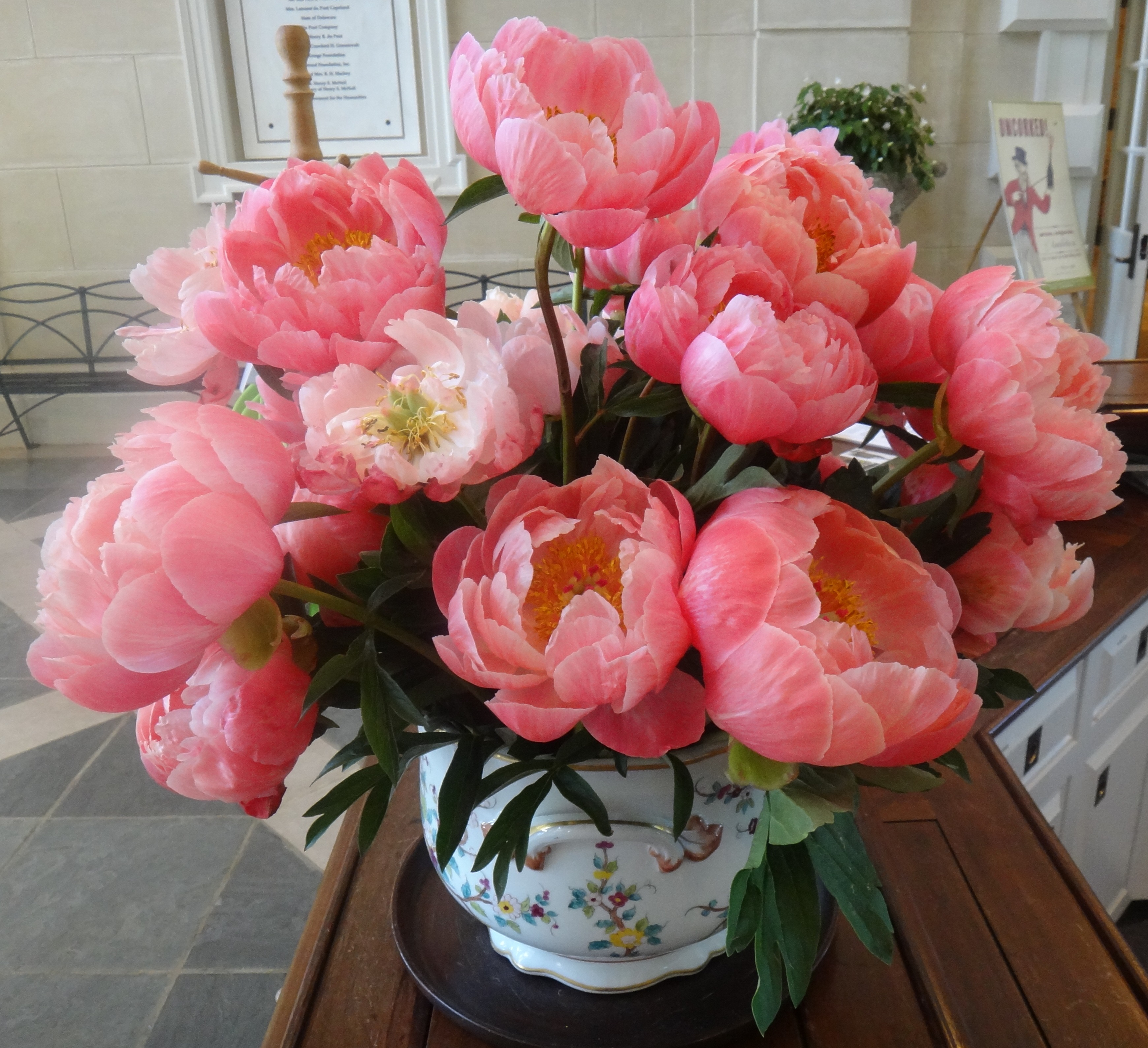 Coral Charm Peonies Grace Desk In Galleries Reception Area