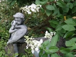 Hydrangea 'Tardiva' and Sculpture