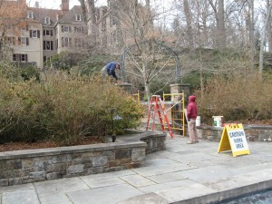 Masons at work on Reflecting Pool gates February 2013