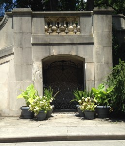 Lovely container plantings surround the newly-restored Italian Gate, just past the Dorrance Gallery