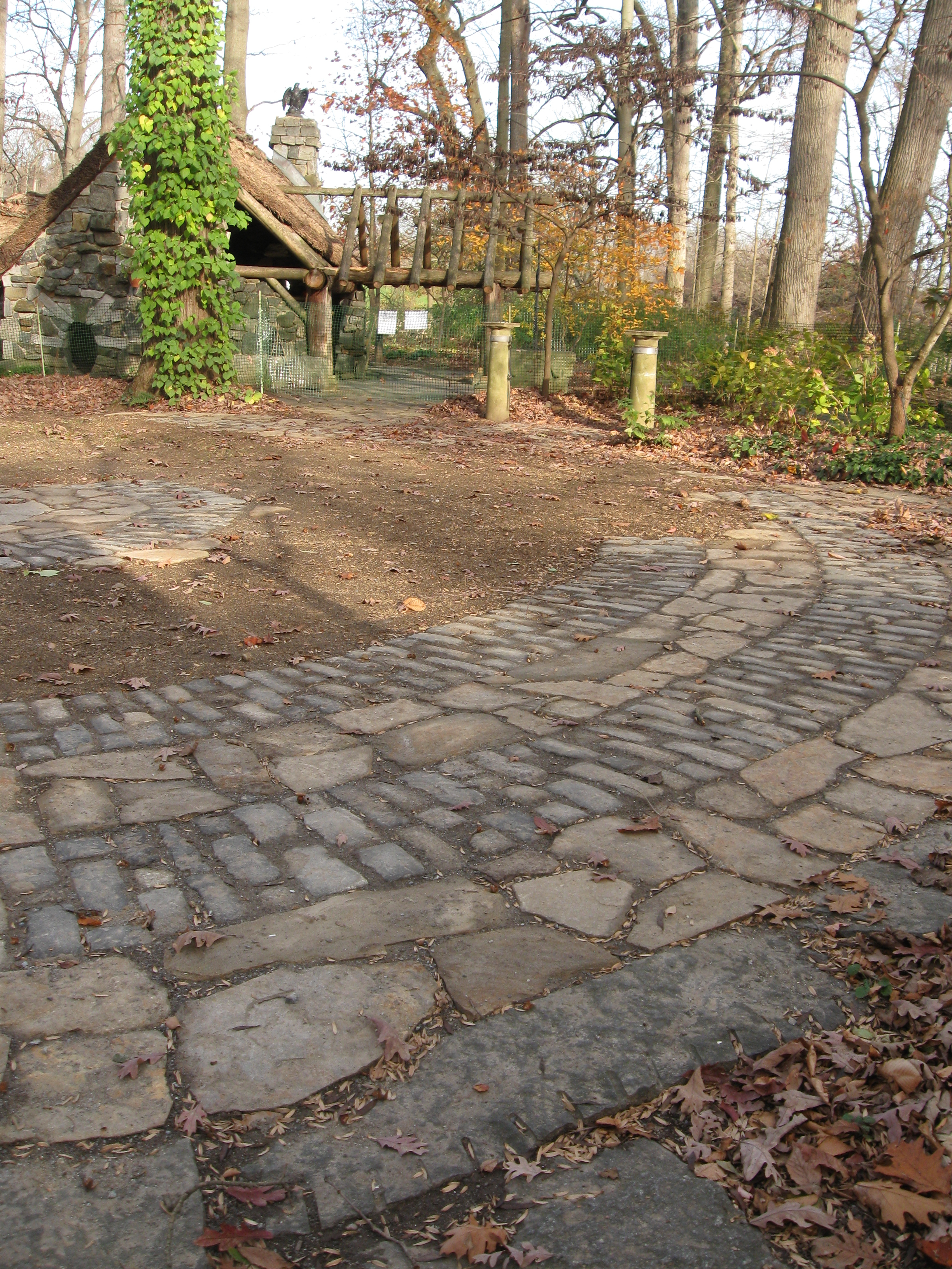Former wear spots filled with stone patterns