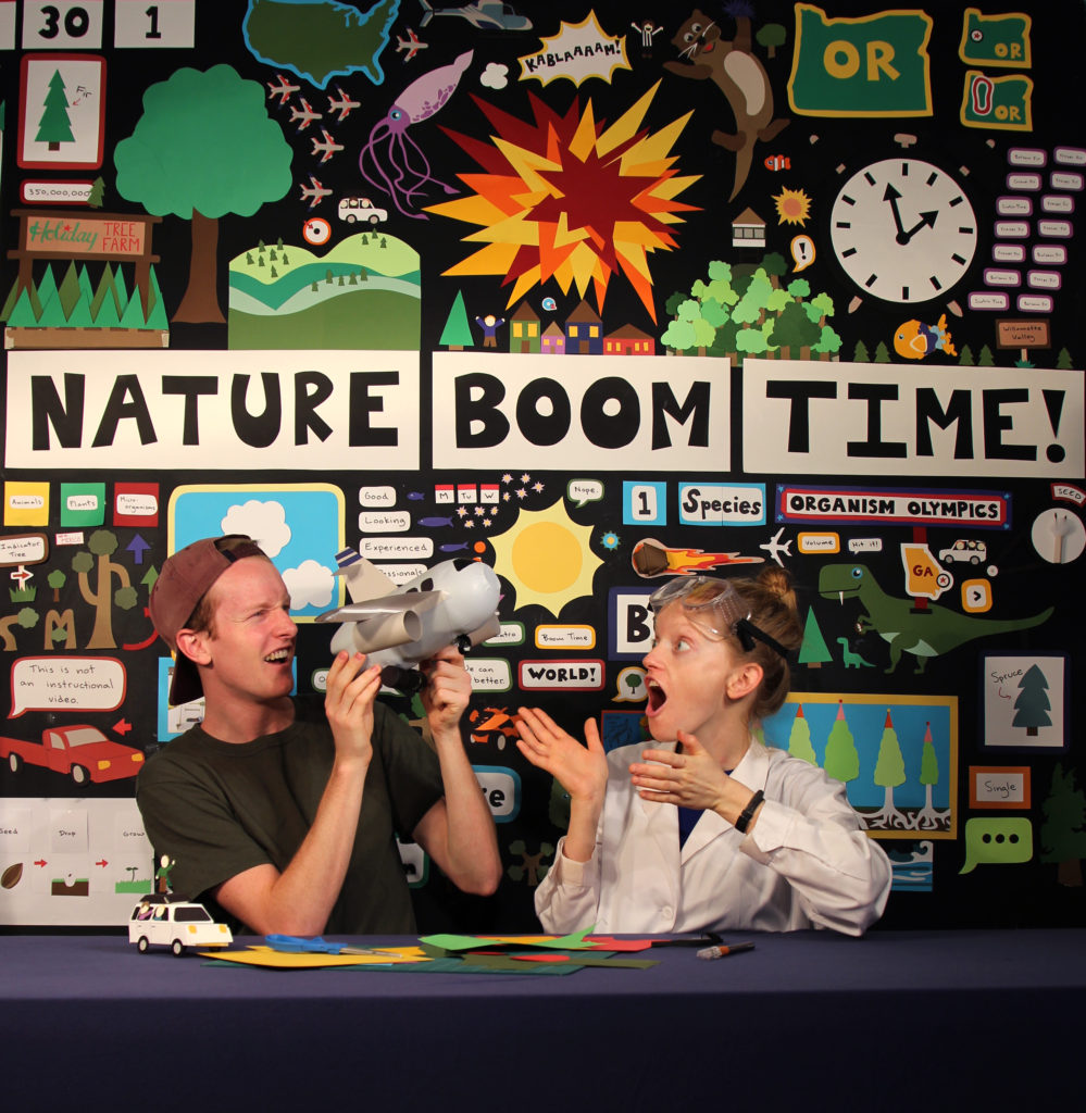 Charlie (left) on the set of  the Nat Geo TV show Nature Boom Time!