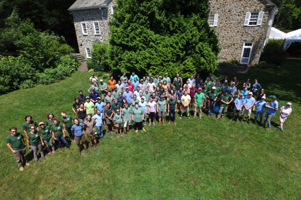 Horticulture interns from 13 different gardens in the region gather to volunteer (and have fun!) at Welkinweir