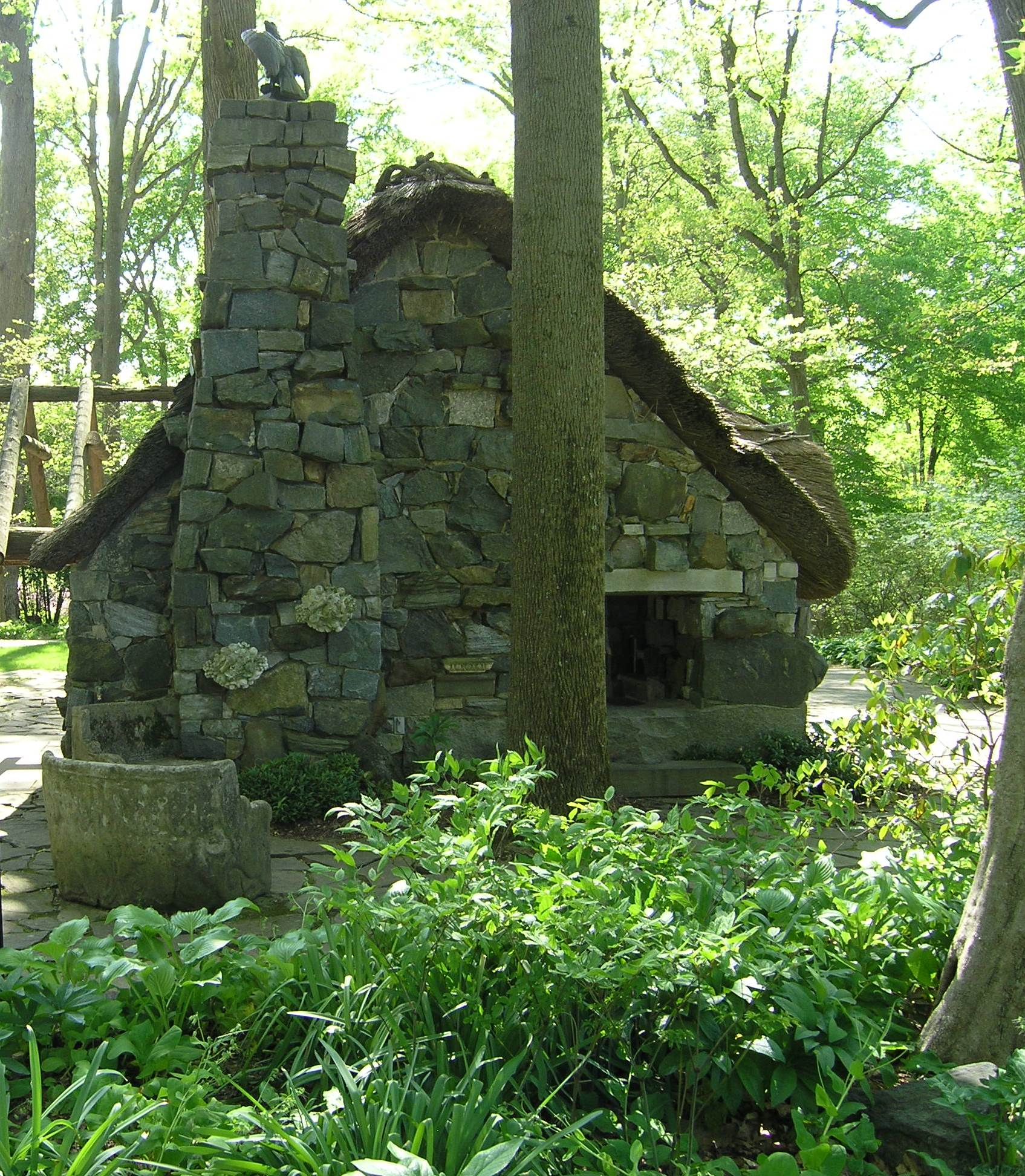Faerie Cottage with bench and eagle finial